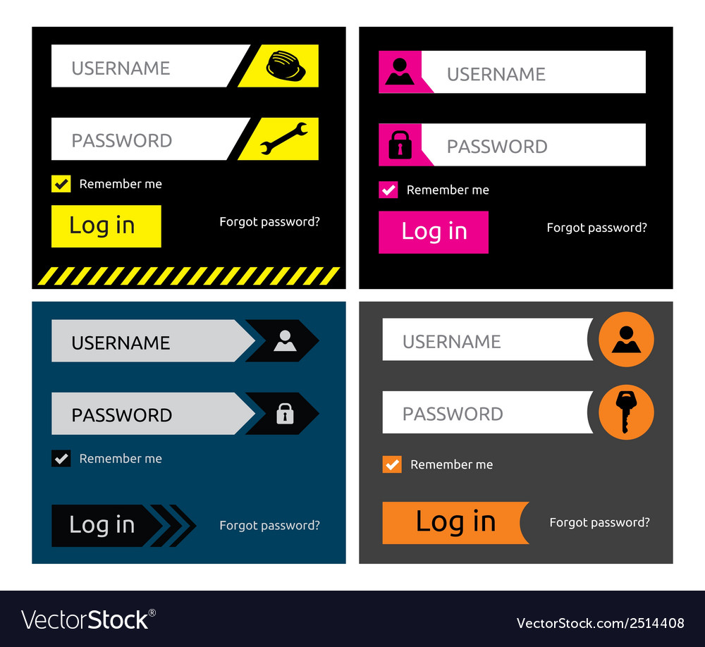 Flat login form3 vector | Price: 1 Credit (USD $1)