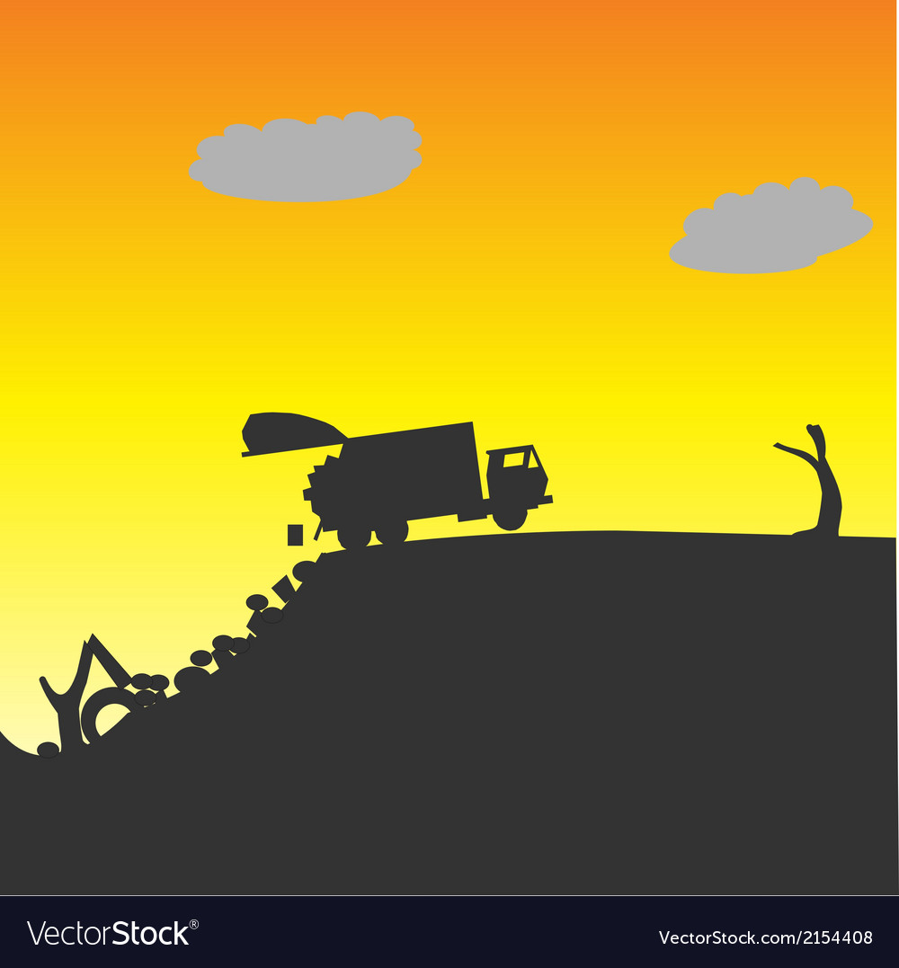 Garbage truck dumping waste vector | Price: 1 Credit (USD $1)