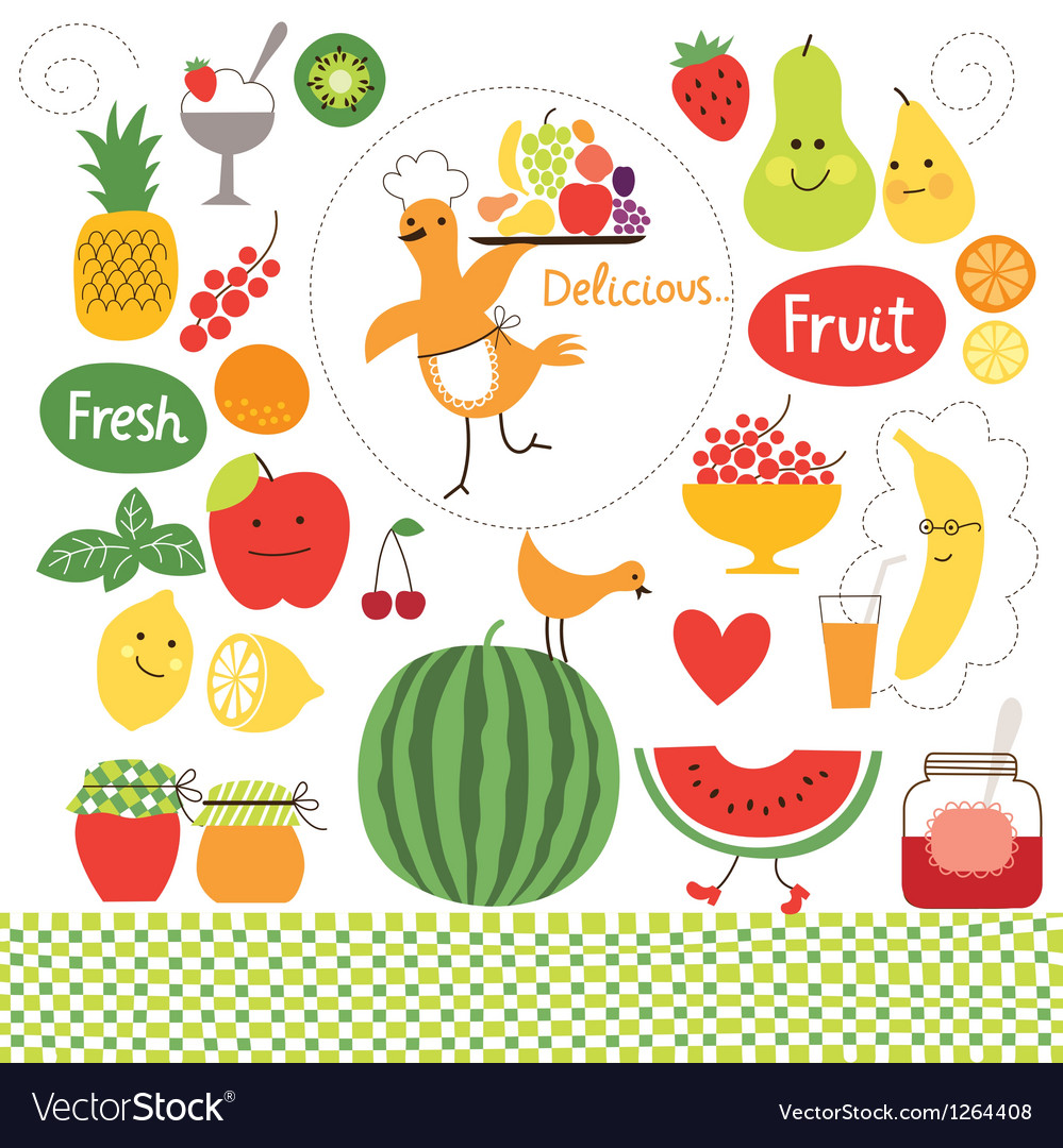 Healthy eating fruits food collect vector | Price: 3 Credit (USD $3)