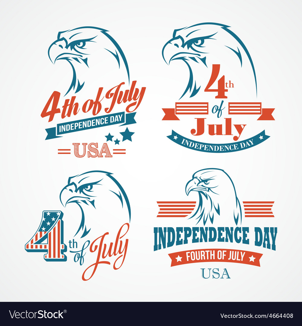 Independence day typography and an eagle vector | Price: 1 Credit (USD $1)