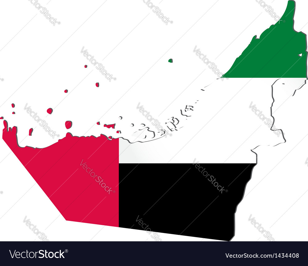 Map of the united arab emirates with national flag vector | Price: 1 Credit (USD $1)