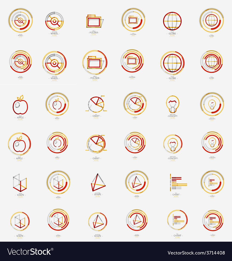 Minimal thin line design web icon set stamps vector | Price: 1 Credit (USD $1)