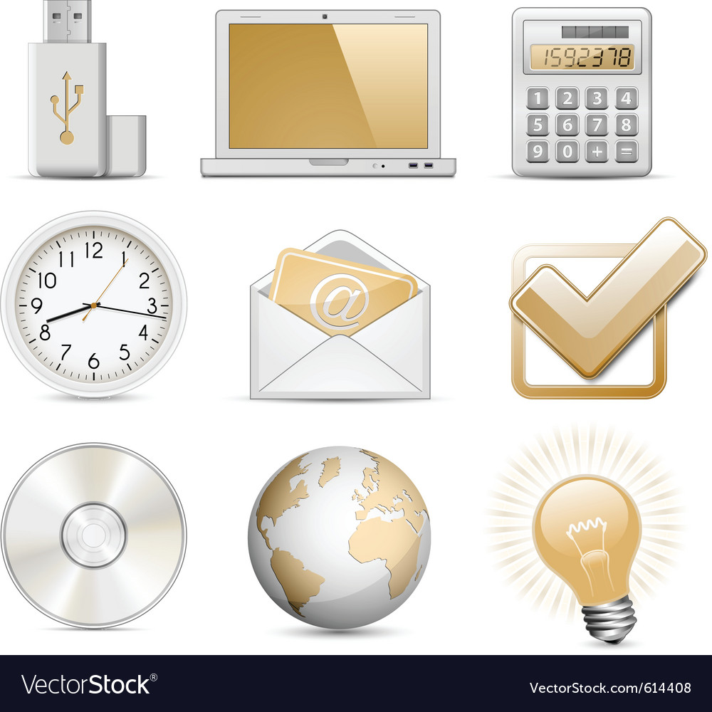 Office icon set vector | Price: 3 Credit (USD $3)