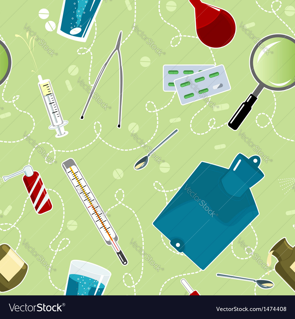 Seamless background with medical instruments vector | Price: 1 Credit (USD $1)