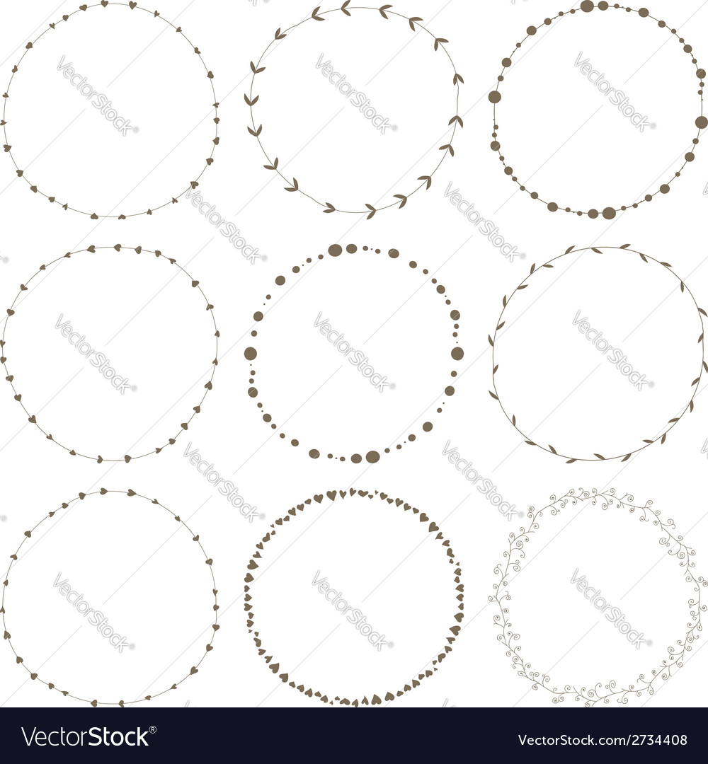 Set of 9 circle cute hand drawn frames vector | Price: 1 Credit (USD $1)