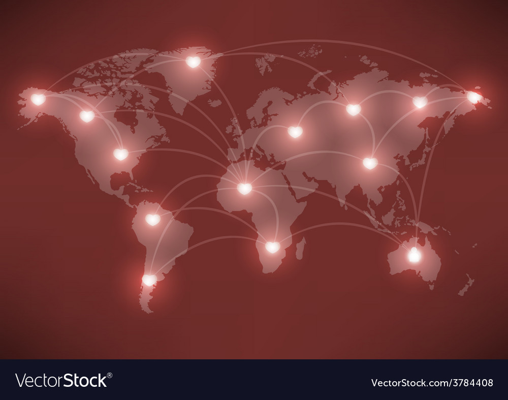 Valentines day romantic heart with world map vector | Price: 1 Credit (USD $1)