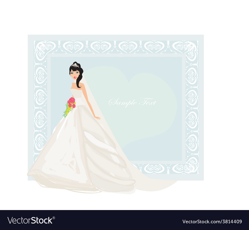 Beautiful bride with red roses card vector   Price: 1 Credit (USD $1)