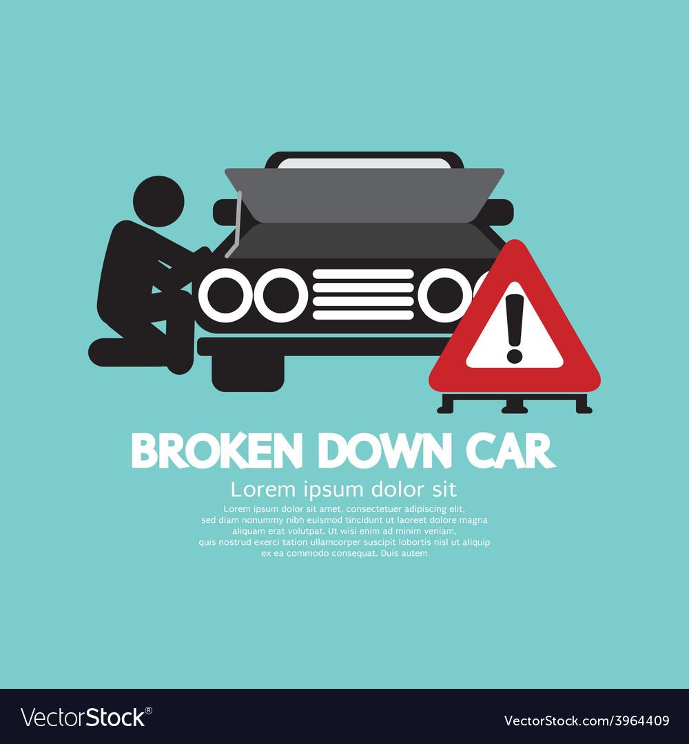 Broken down car symbol vector | Price: 1 Credit (USD $1)