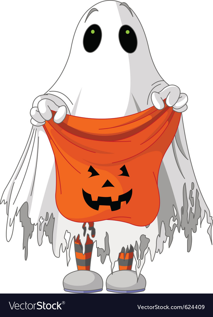 Child in ghost costume vector | Price: 3 Credit (USD $3)