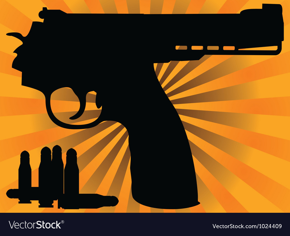 Correct pistol and cartridges vector | Price: 1 Credit (USD $1)