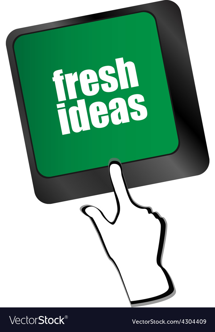 Fresh ideas button on computer keyboard key vector