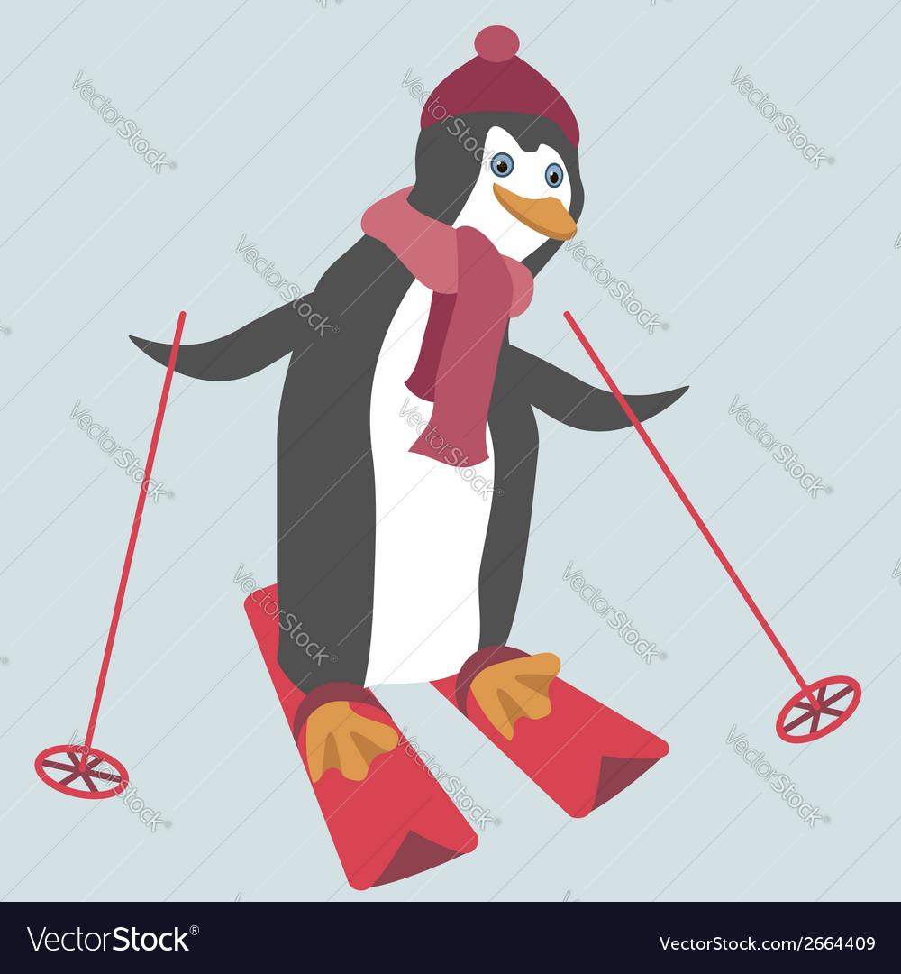 Funny penguin is skiing vector | Price: 1 Credit (USD $1)