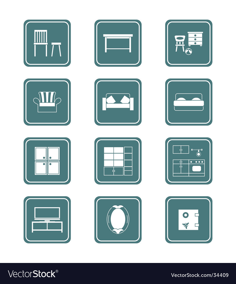 Furniture icons  teal series vector | Price: 1 Credit (USD $1)