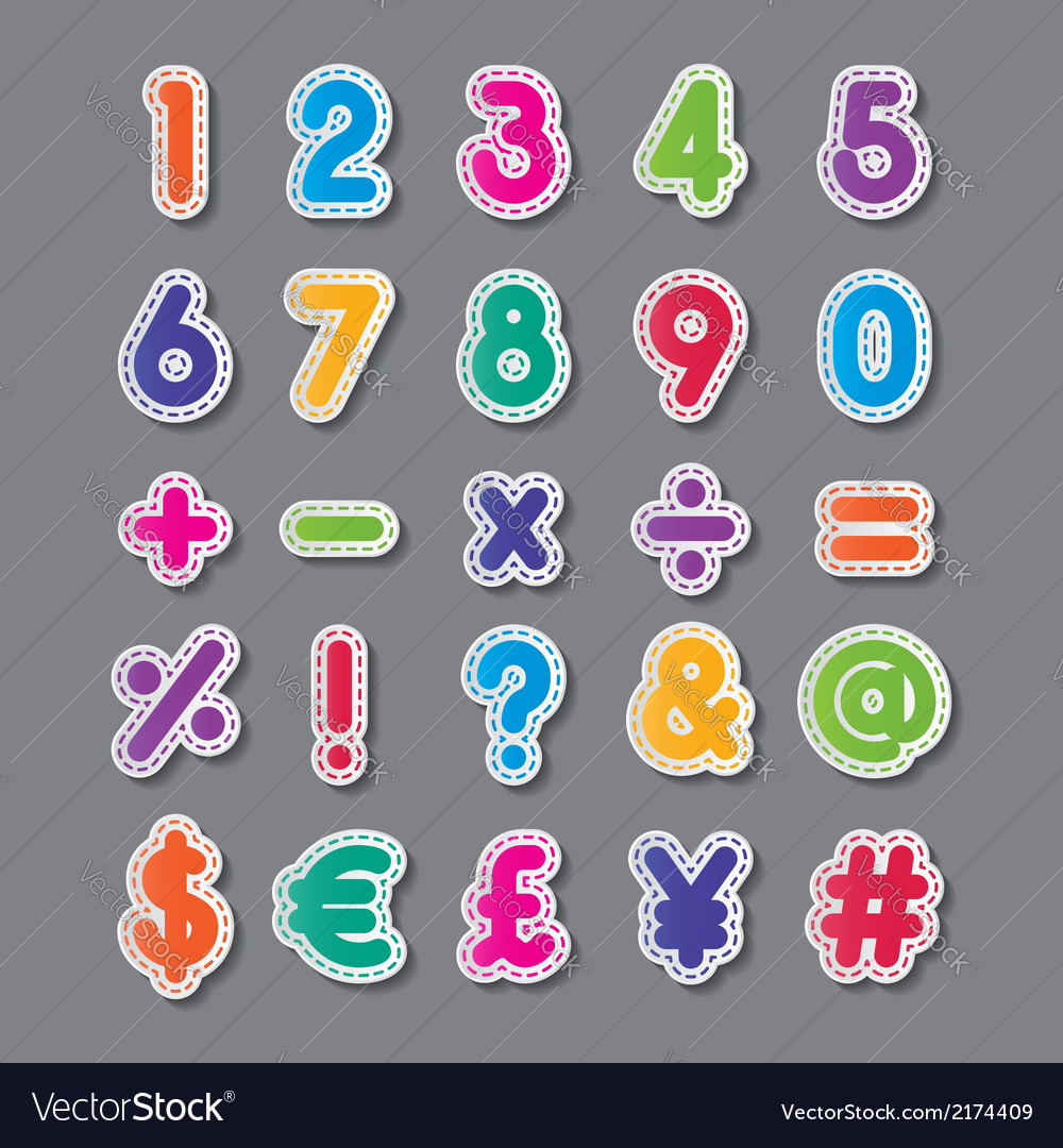 Paper numbers and symbols vector | Price: 1 Credit (USD $1)