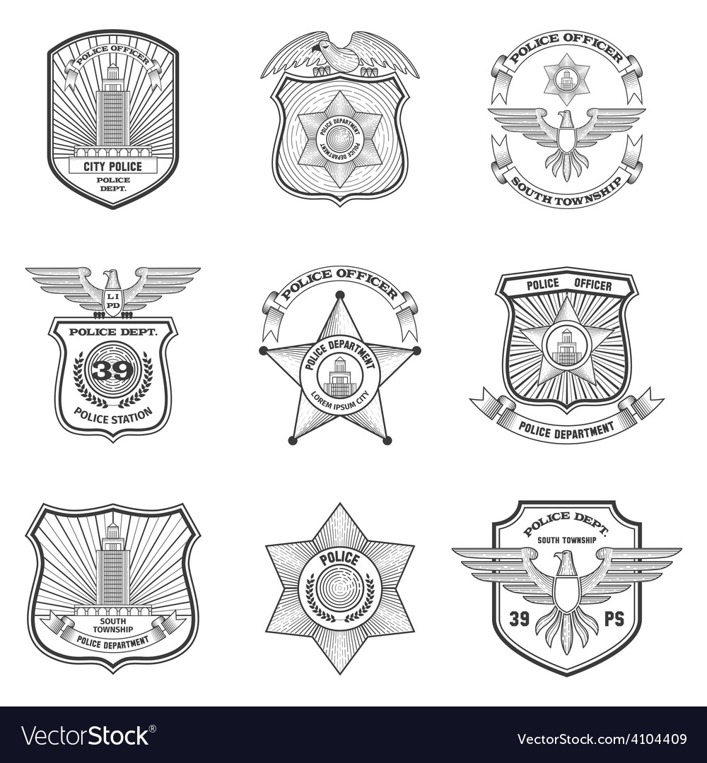 Police emblems set vector | Price: 1 Credit (USD $1)