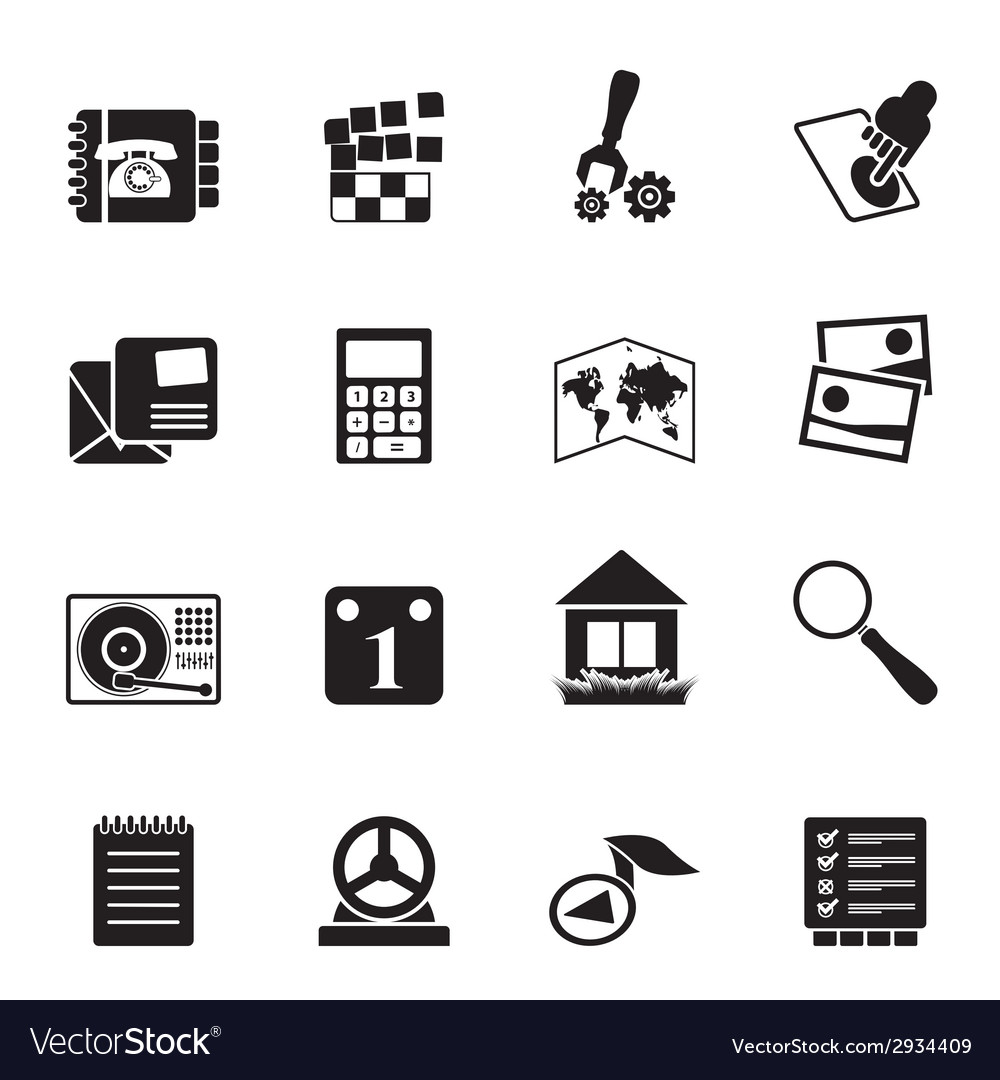 Silhouette mobile phone and computer icon vector | Price: 1 Credit (USD $1)