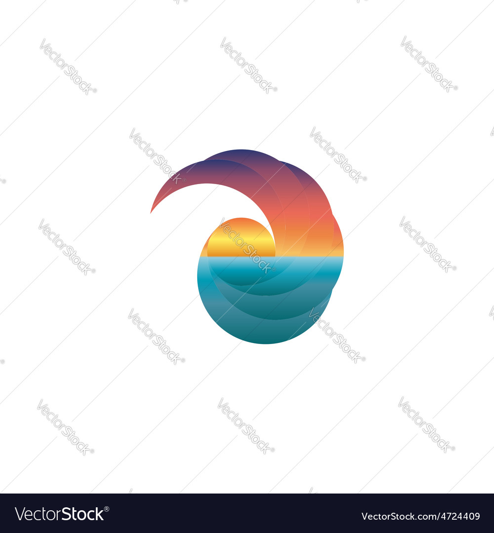 Summer tourism mockup logo sun at sunset design vector | Price: 1 Credit (USD $1)