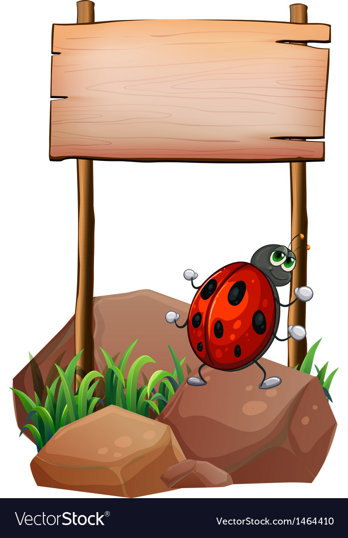 A bug below the empty wooden signboard vector   Price: 1 Credit (USD $1)
