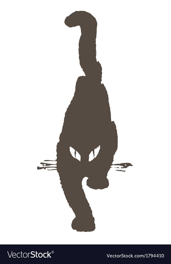 Black cat comes sneaking gait vector | Price: 1 Credit (USD $1)