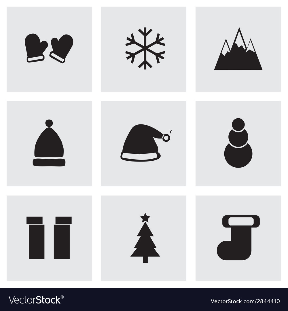 Black winter icons set vector | Price: 1 Credit (USD $1)