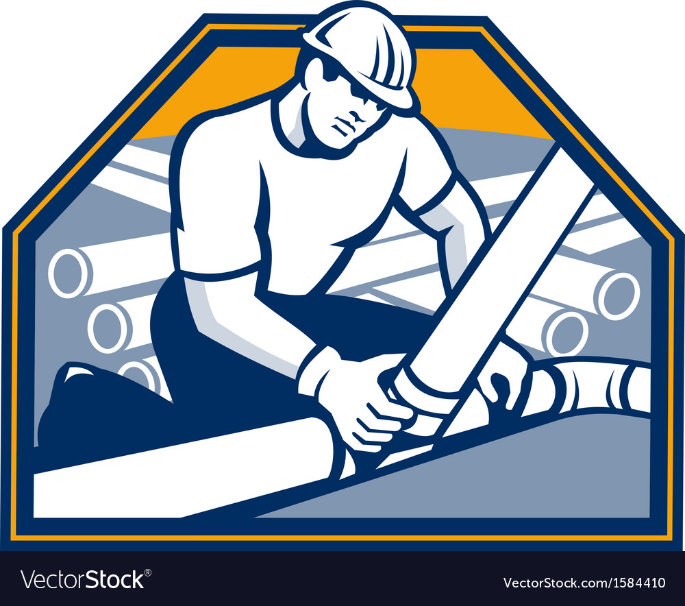 Drainlayer worker laying pipes retro vector | Price: 1 Credit (USD $1)
