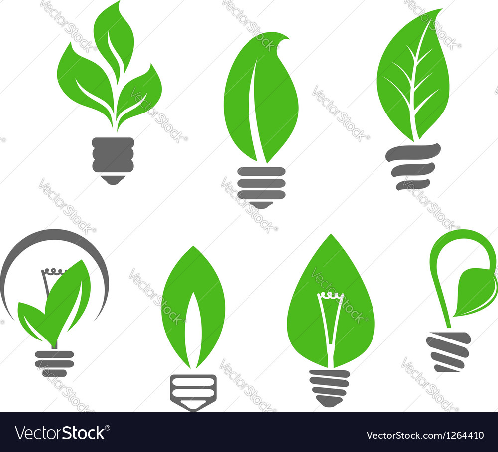 Light bulbs with green leaves vector | Price: 1 Credit (USD $1)