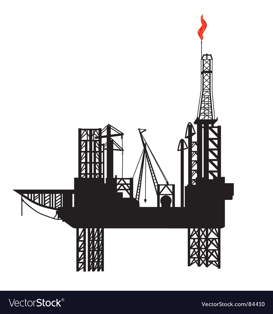 Oil drilling platform vector | Price: 1 Credit (USD $1)