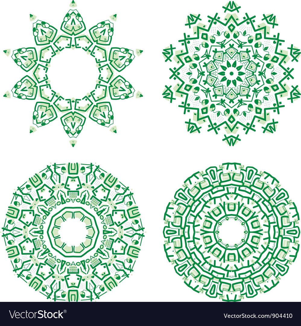 Ornamental ethnicity green pattern vector | Price: 1 Credit (USD $1)