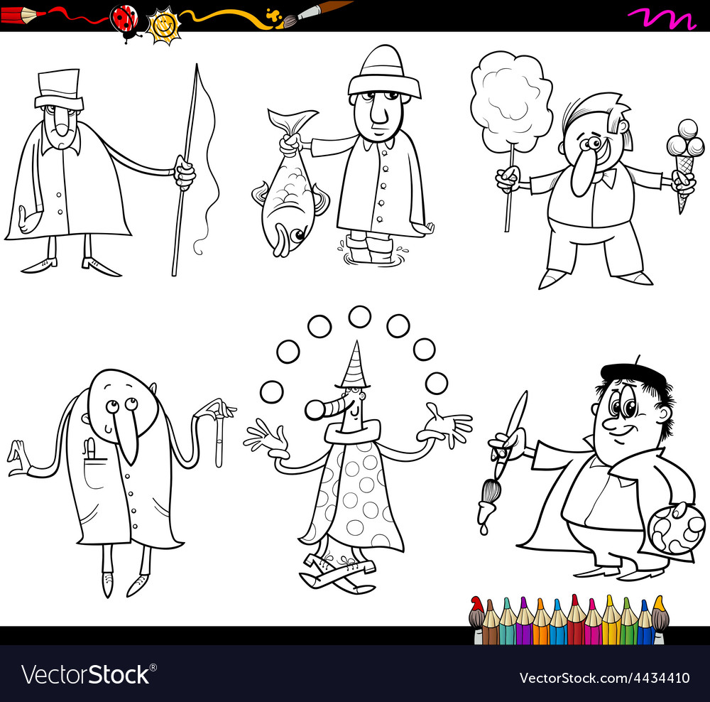 People occupations coloring page vector | Price: 1 Credit (USD $1)