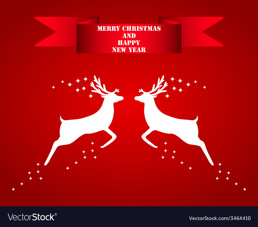 Reindeer silhouettes on a red background vector | Price: 1 Credit (USD $1)