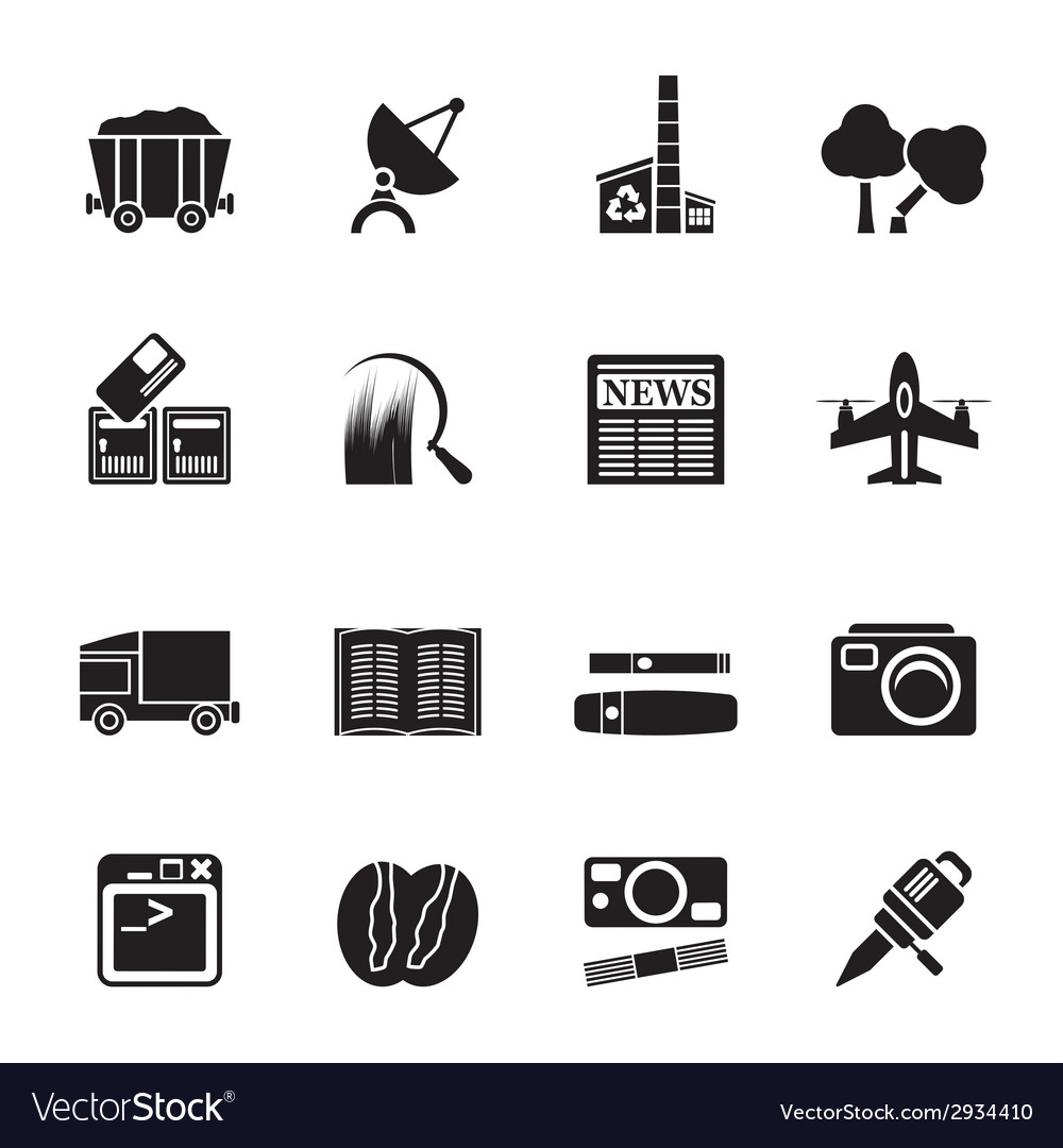 Silhouette business and industry icons vector | Price: 1 Credit (USD $1)