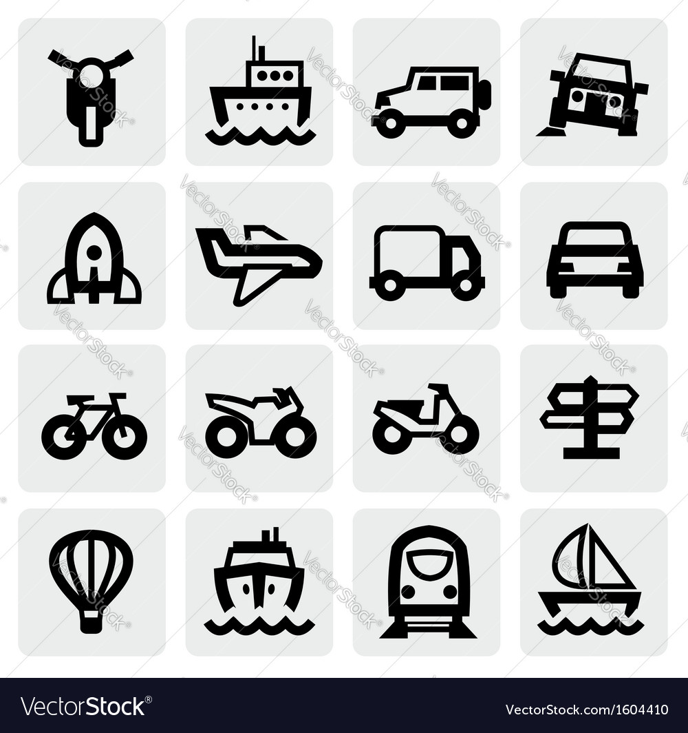 Transportation icon set vector | Price: 1 Credit (USD $1)