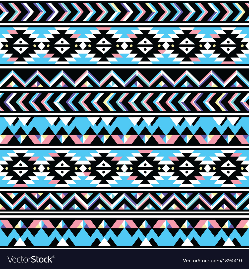 Tribal aztec seamless blue and pink pattern vector | Price: 1 Credit (USD $1)