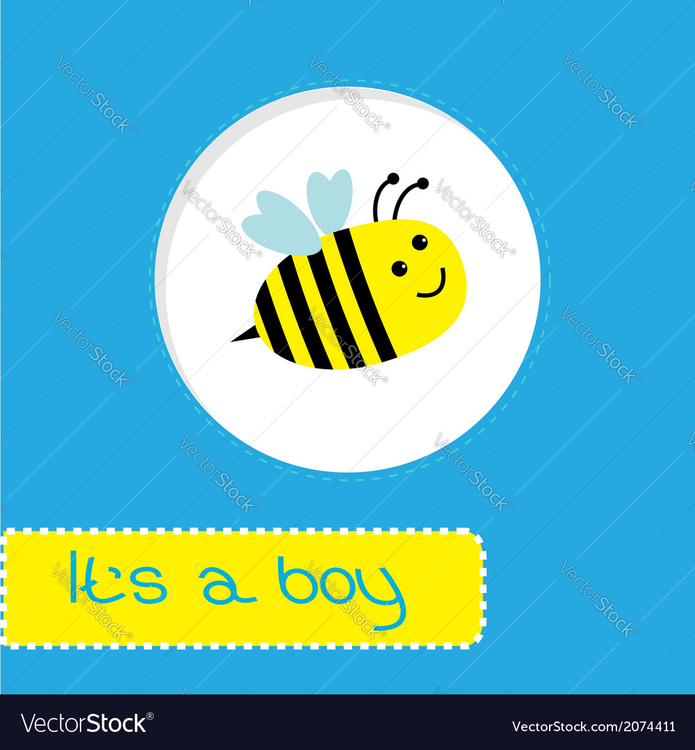 Baby shower card with bee its a boy vector | Price: 1 Credit (USD $1)