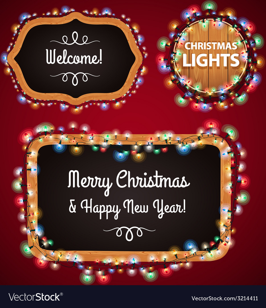 Christmas lights frames set4 vector | Price: 1 Credit (USD $1)
