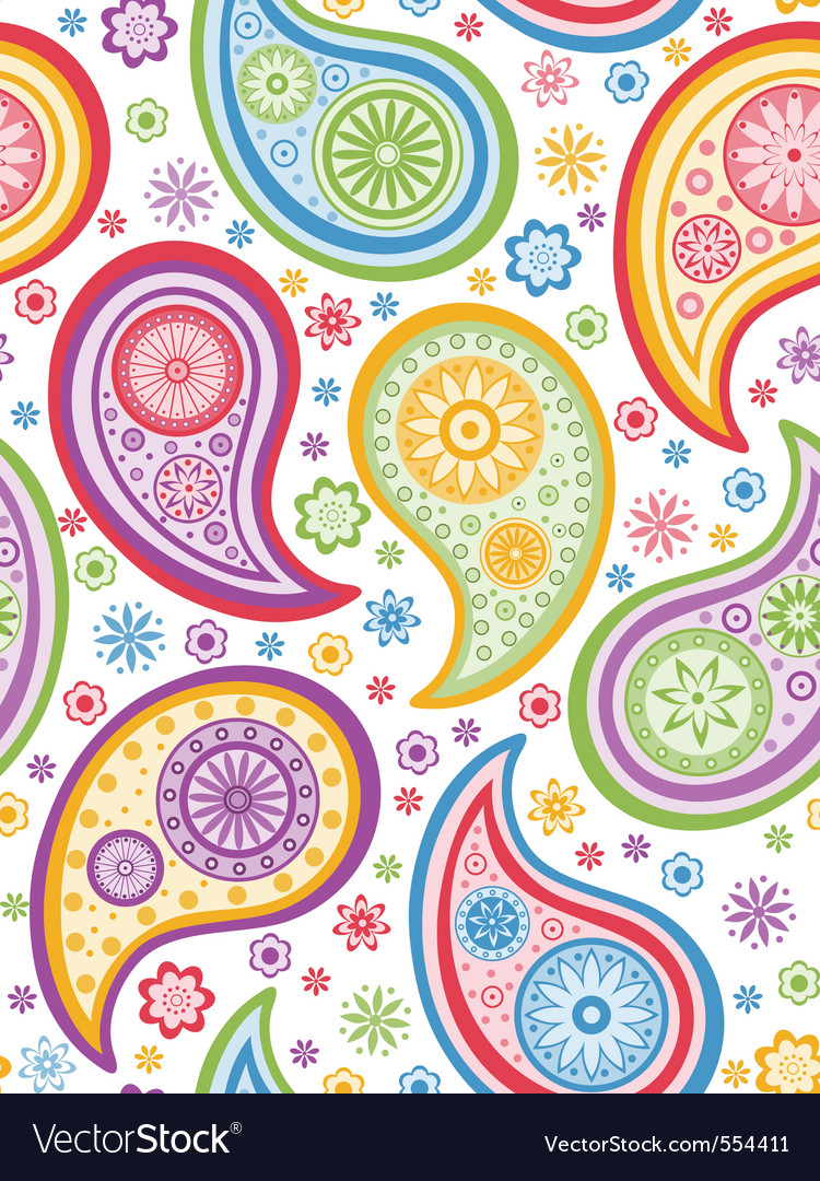 Colorful seamless paisley pattern vector | Price: 1 Credit (USD $1)