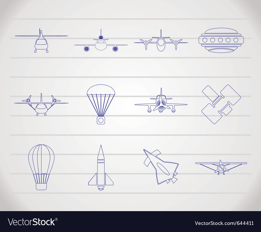 Different types of aircraft s and icon vector | Price: 1 Credit (USD $1)