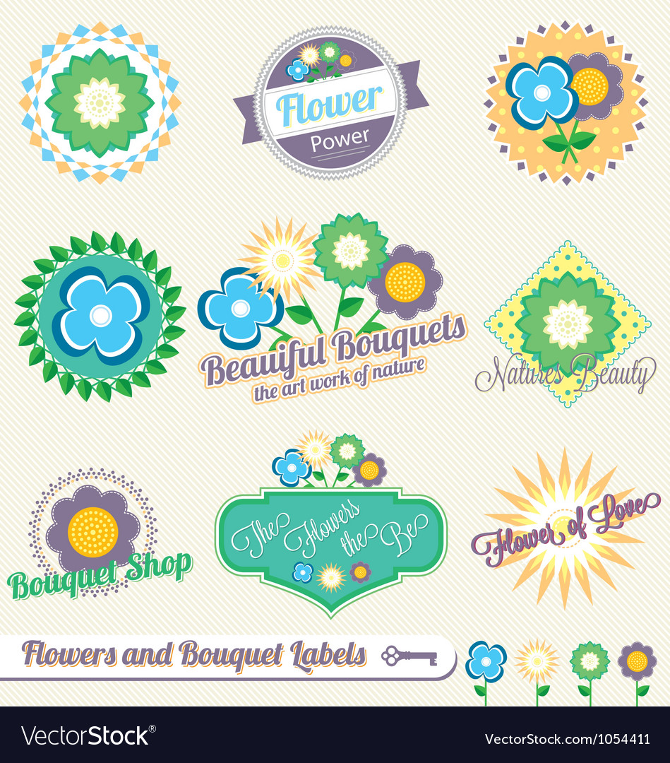 Flower and bouquet labels and stickers vector | Price: 3 Credit (USD $3)