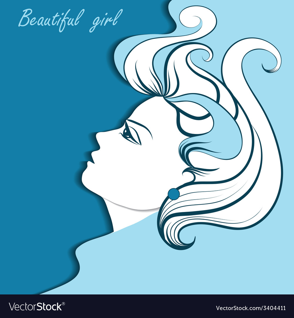 Graphic portrait of a beautiful girl vector | Price: 1 Credit (USD $1)