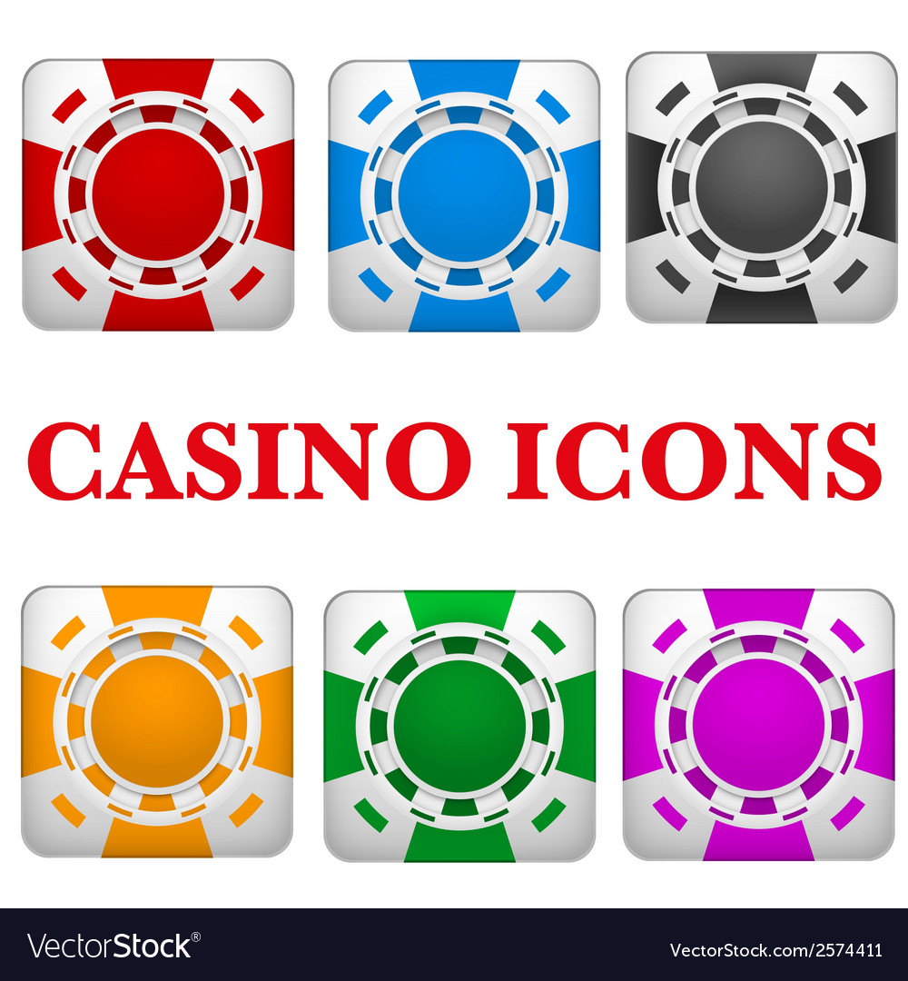 Set of square icons multicolor casino chips vector | Price: 1 Credit (USD $1)