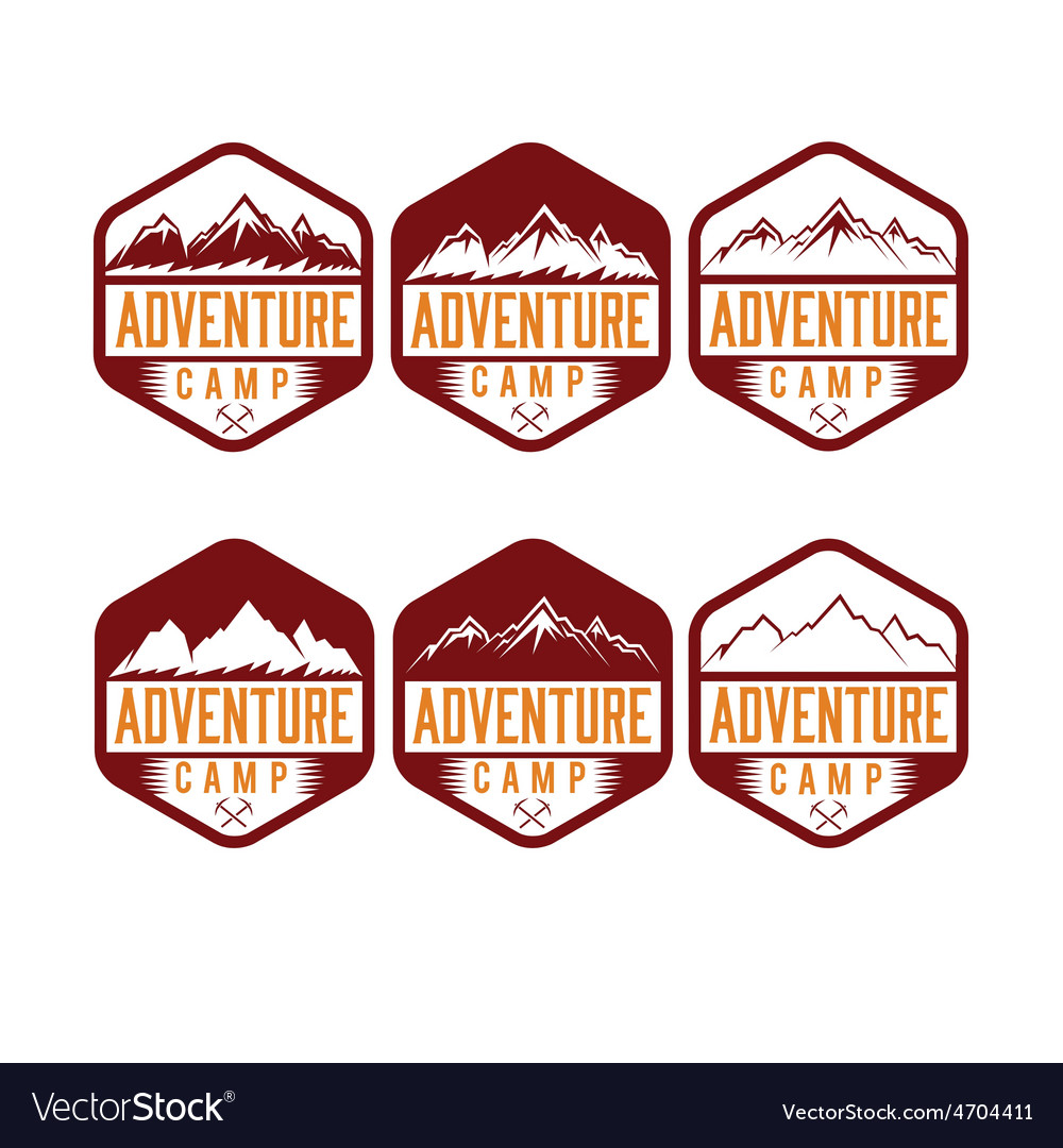 Set of vintage labels adventure camp vector | Price: 1 Credit (USD $1)