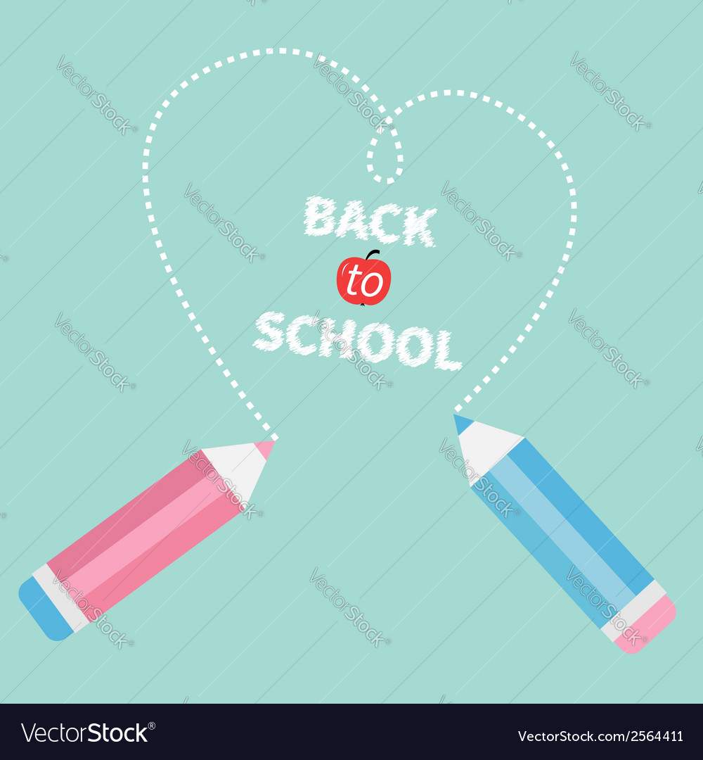 Two pencils drawing dash hearton blue background vector | Price: 1 Credit (USD $1)