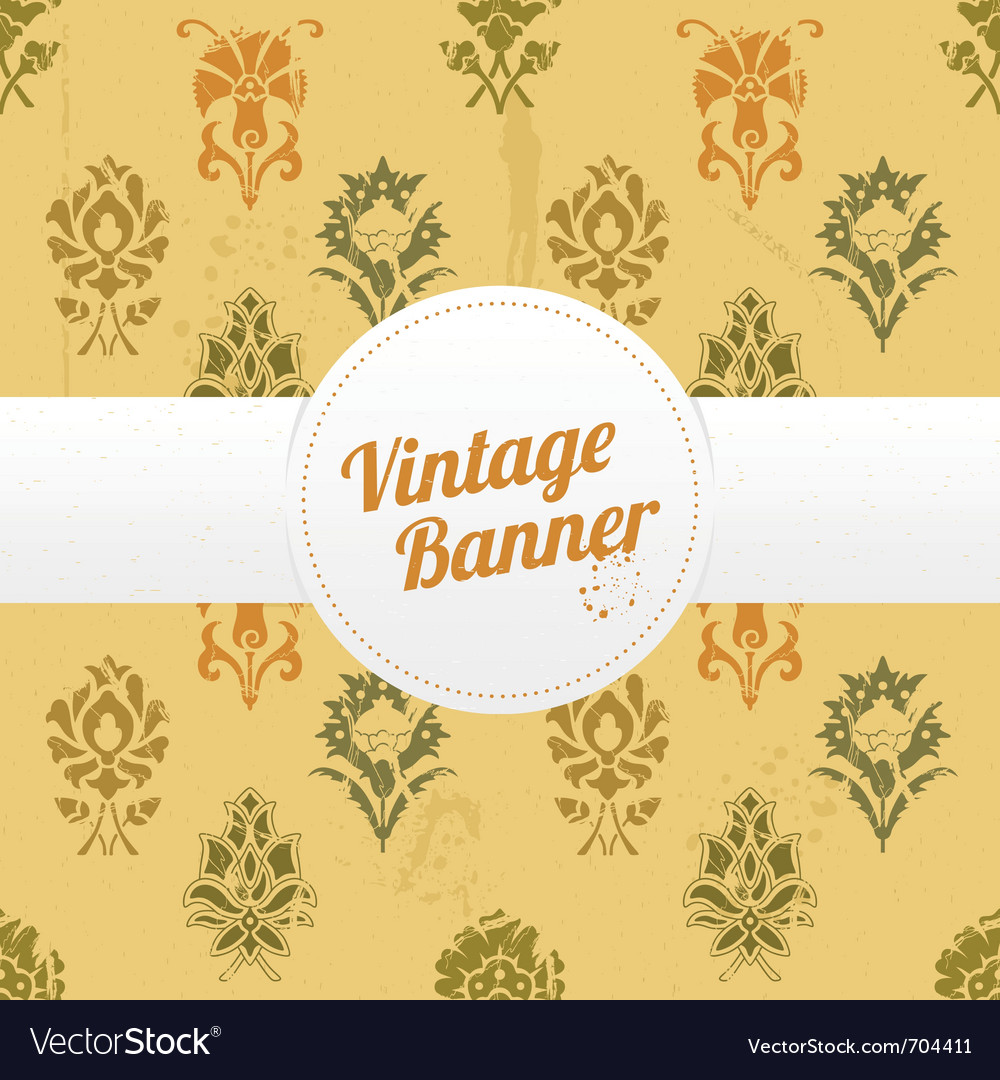 Vintage banner with flowers vector | Price: 1 Credit (USD $1)