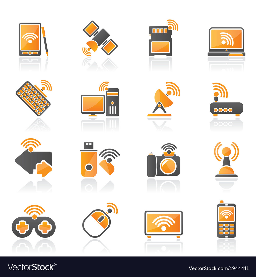 Wireless and communications icons vector | Price: 1 Credit (USD $1)