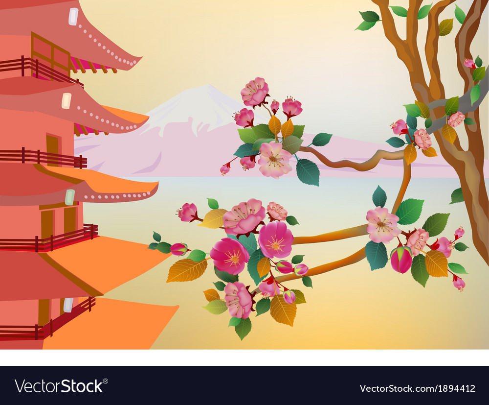 Banner on the background of sakura blossoms vector | Price: 1 Credit (USD $1)