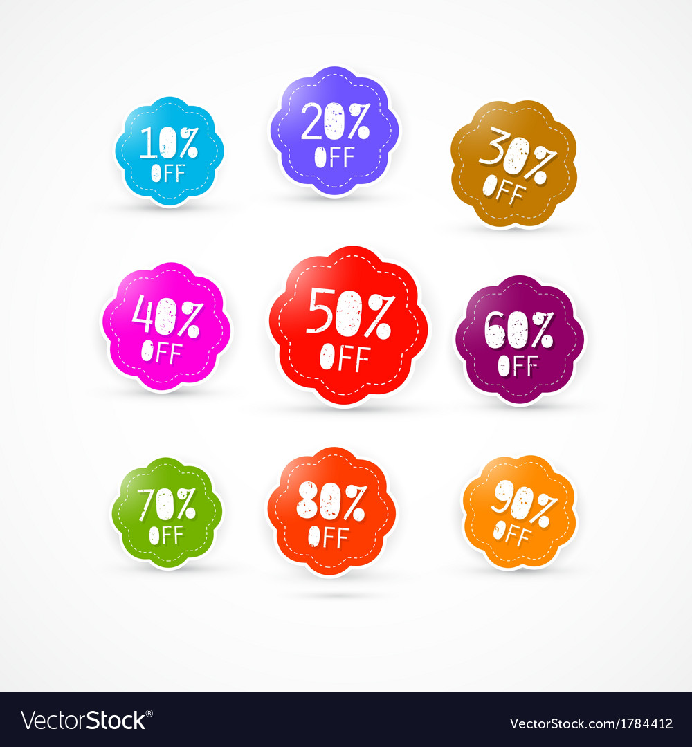 Colorful discount labels set vector | Price: 1 Credit (USD $1)