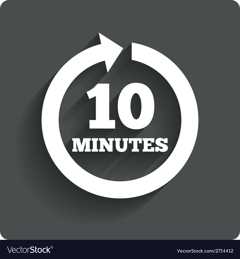 Every 10 minutes sign icon full rotation arrow vector | Price: 1 Credit (USD $1)