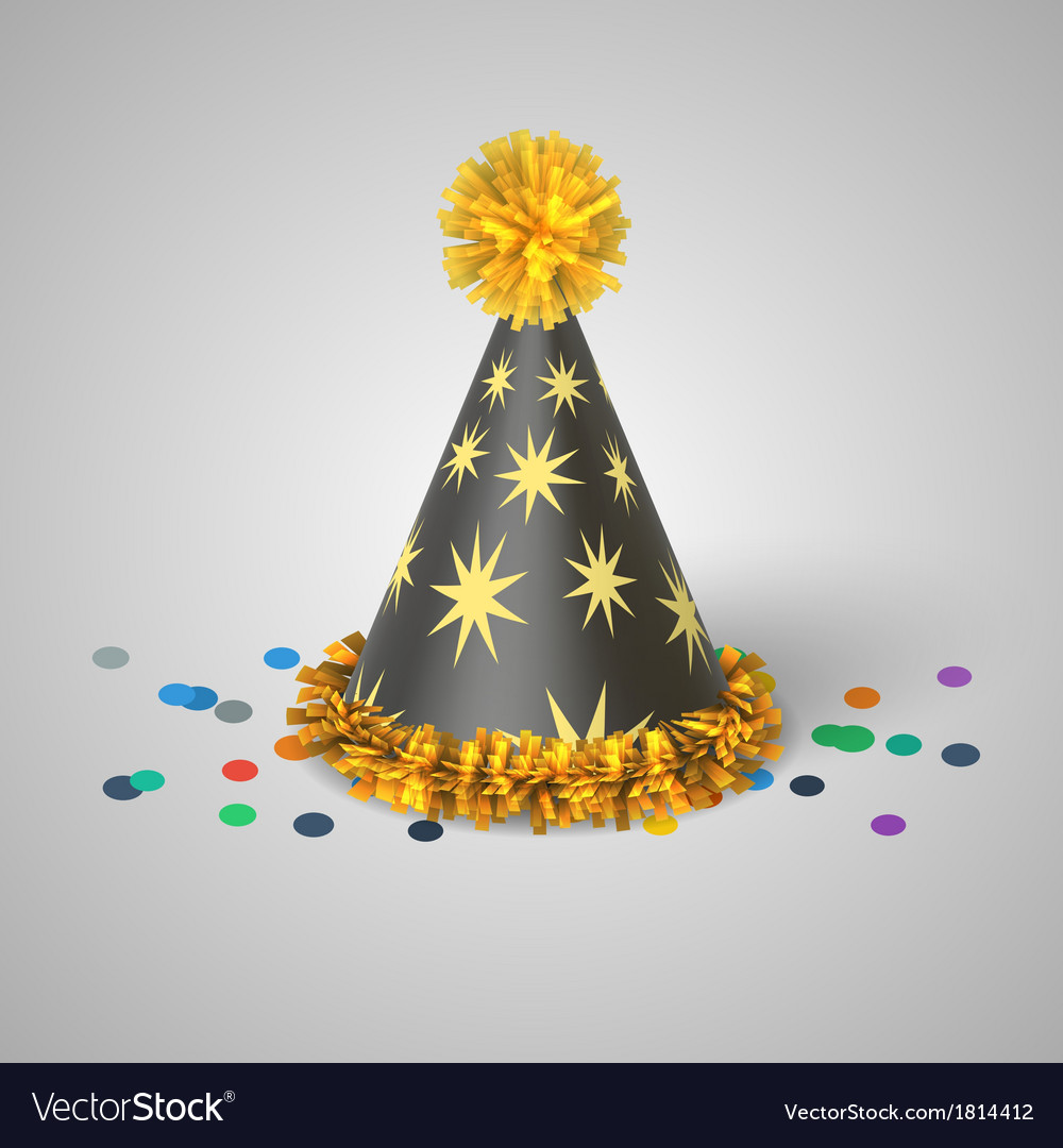 Grey party hat with yellow stars vector | Price: 1 Credit (USD $1)