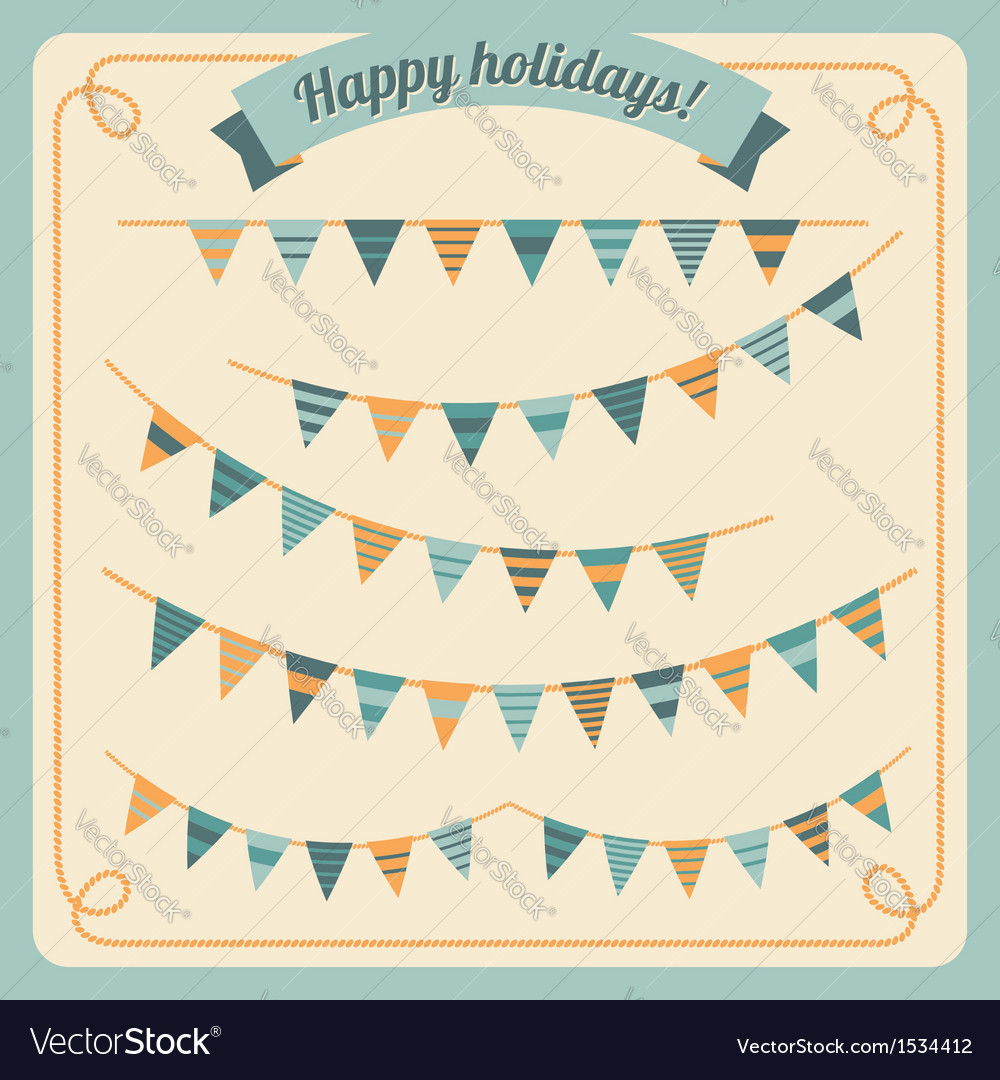 Set of bunting and garland vector | Price: 1 Credit (USD $1)