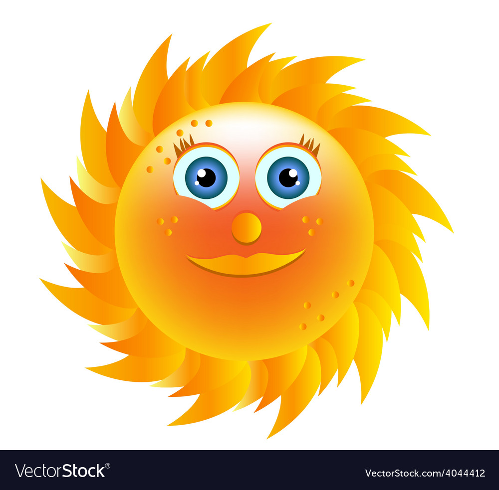 Smiling yellow sun with blue eyes vector | Price: 1 Credit (USD $1)
